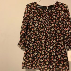 Free People Boho Floral Blouse